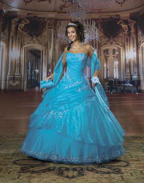 Vestidos de quince a os azul turquesa for Que color asociar con el azul turquesa