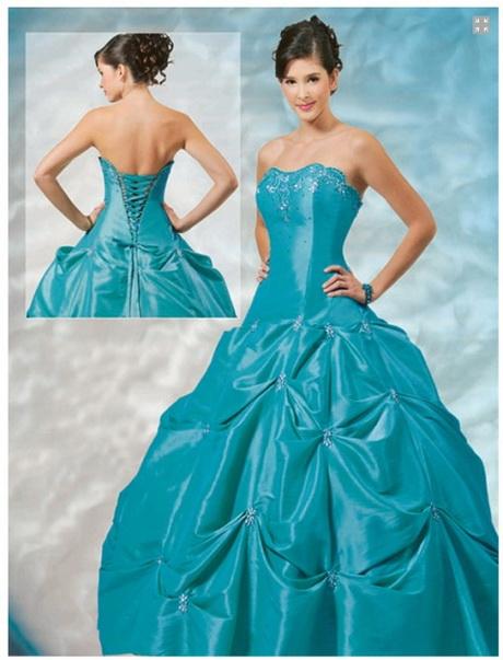 Vestido azul turquesa desmontable con rosetas pictures for Color azul turquesa