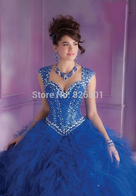 Sparkly Beaded Sweetheart Blue/Pink Quinceanera Prom Dresses Ball ...