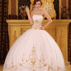 White and gold quinceanera dresses